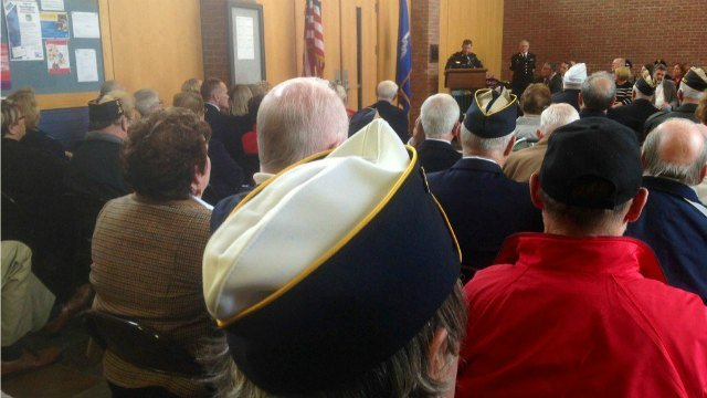 Newington's police chief spoke to a crowd at town hall on Veterans Day. (WFSB)