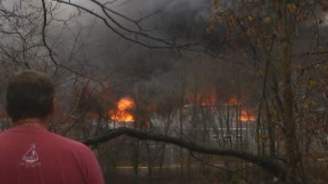 Firefighters are battling a blaze at manufacturing company in Glastonbury. (WFSB)