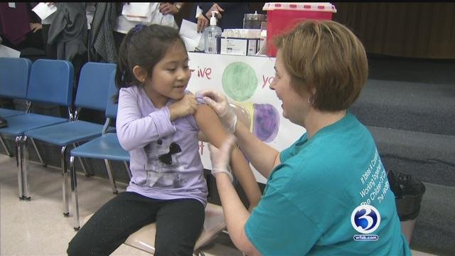 Flu shot clinic held at Wright Elementary School on Tuesday. (WFSB)