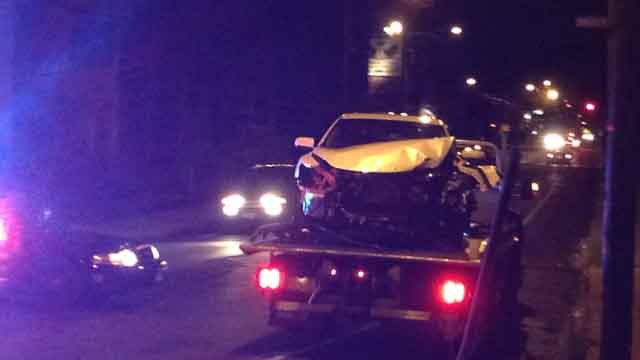 Crews responded to Stanley Street in New Britain after a car and a CT Fastrak bus collided. (WFSB)