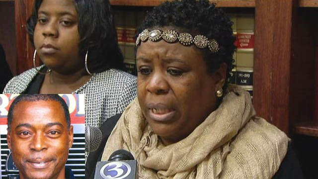 Wayatte Statham-Bell discusses a wrongful death suit filed against the city of Hartford following the death of firefighter Kevin Bell. (WFSB photo)