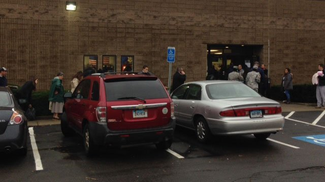 People stood in rain to use services at  DMV office in Old Saybrook. (WFSB)