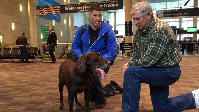 This chocolate lab saved this Marine's life in Afghanistan. Today, he's back home, getting adopted.  (WFSB)