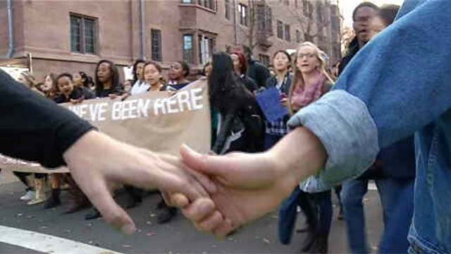 Yale students rallied after recent racial incidents.  (WFSB file photo)