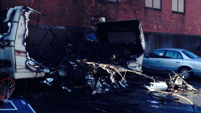 A trailer fire was reported on Howard Avenue in New Haven on Monday. (WFSB)