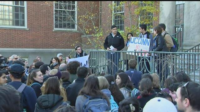 UConn students staged a sit-in on Monday. (WFSB photo)