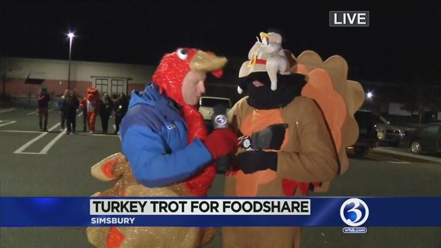 WFSB's Scot Haney was out helping Foodshare collect turkeys in Simsbury. (WFSB photo)