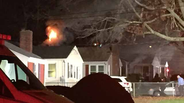 Crews battle fire at Wethersfield home (WFSB)