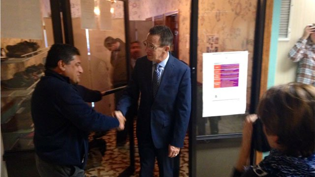 Gov. Dannel P. Malloy visits the Baitful Aman Mosque on Main Street in Meriden on Friday. (WFSB)