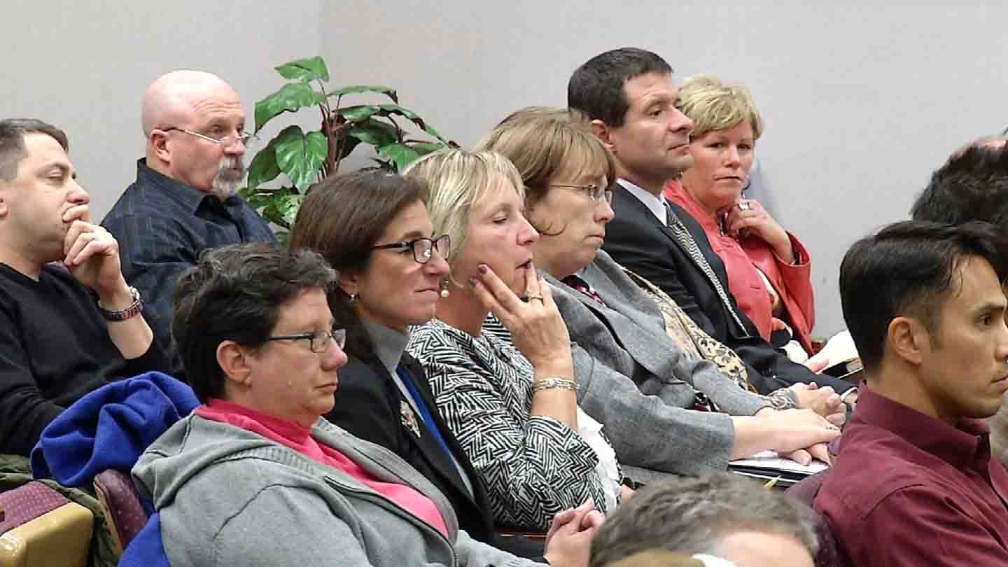 Dozens attended a school board meeting over potential consolidation discussions. (WFSB photo)