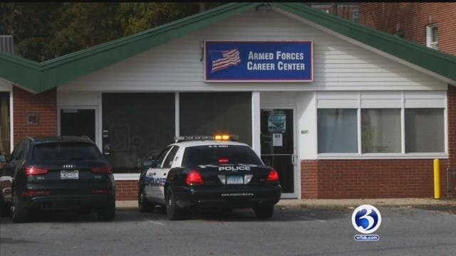 Suspicious package found near the U.S. Armed Forces Recruiting Center on High Ridge Road. (WFSB)
