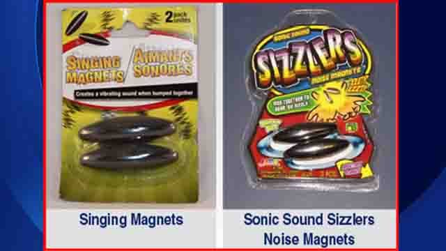 Two magnet toys that may post ingestion hazards. (USPIRG photo)
