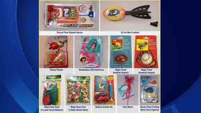 Eleven toys that may post choking hazards or may violate choke hazard warning rules. (USPIRG photo)