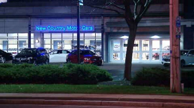 Hartford police made an arrest after a shooting at the New Country Mercedes car dealership on Tuesday night. (WFSB)