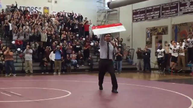 The moment students learned the $100,000 was coming home to Bristol Central. (WFSB)
