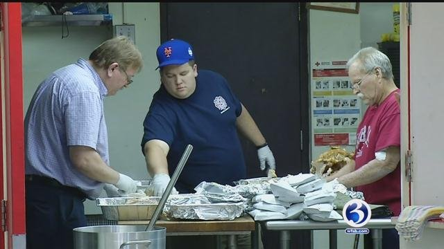 Naugatuck valley volunteer firefighters prepared Thanksgiving dinners for those who can't leave home. (WFSB)