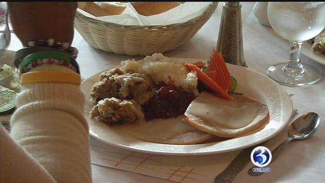 More than 500 people enjoyed a free Thanksgiving dinner at Christopher Martins Pub on Thursday. (WFSB)