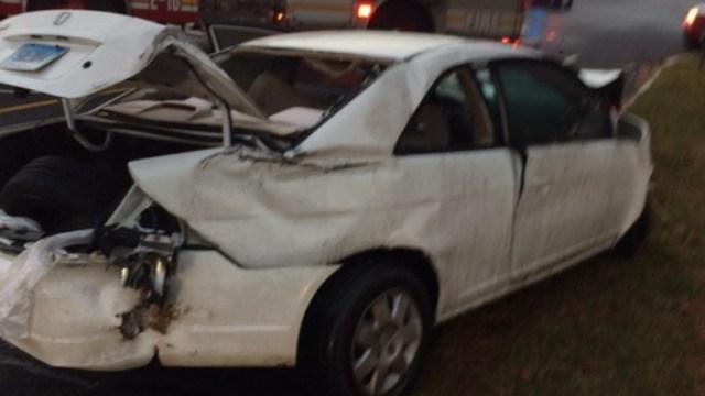 A car was damaged after a crash on Locust Street in Hartford. (@LtFoley)