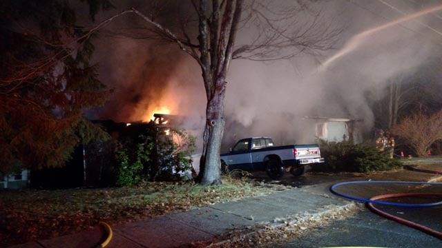 Crews battle house fire in Windham (WFSB)