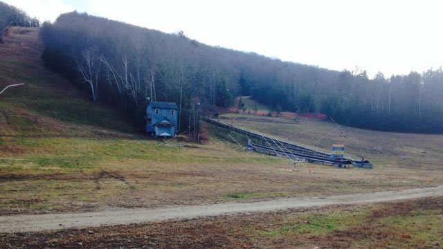 There was no snow at Ski Sundown in New Hartford on Thursday. (WFSB)