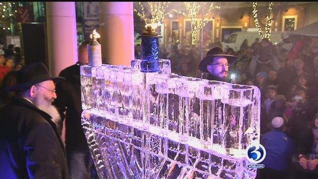 The Fire and Ice Celebration in West Hartford featured a giant ice menorah. (WFSB photo)