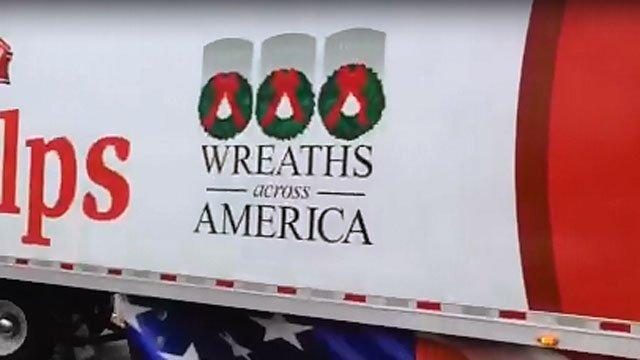 Wreaths across America trucks arrive at St. Bernard's High School in Uncasville on Tuesday morning. (WFSB)