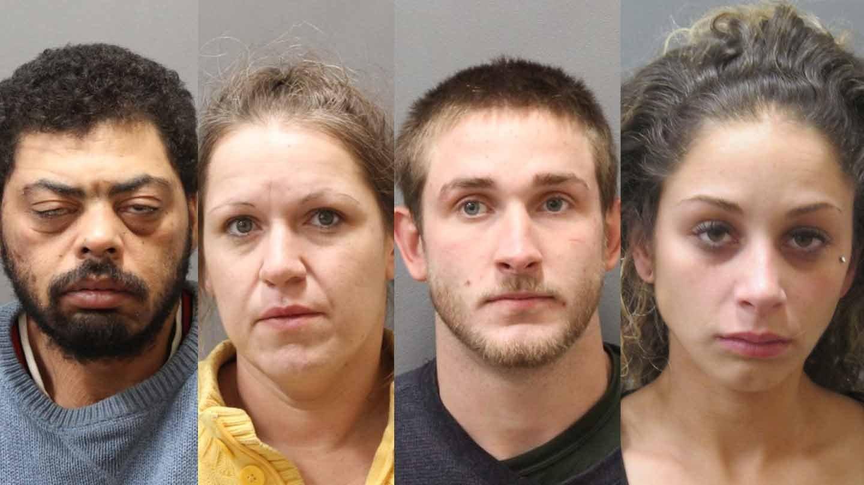Travis Golden, Kimberly Johnson, Michael Fisher and Kara Racine. (Plainfield police photos)