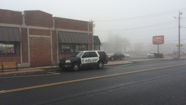Police stationed outside of the Krauszers on Campbell Avenue. (WFSB photo)