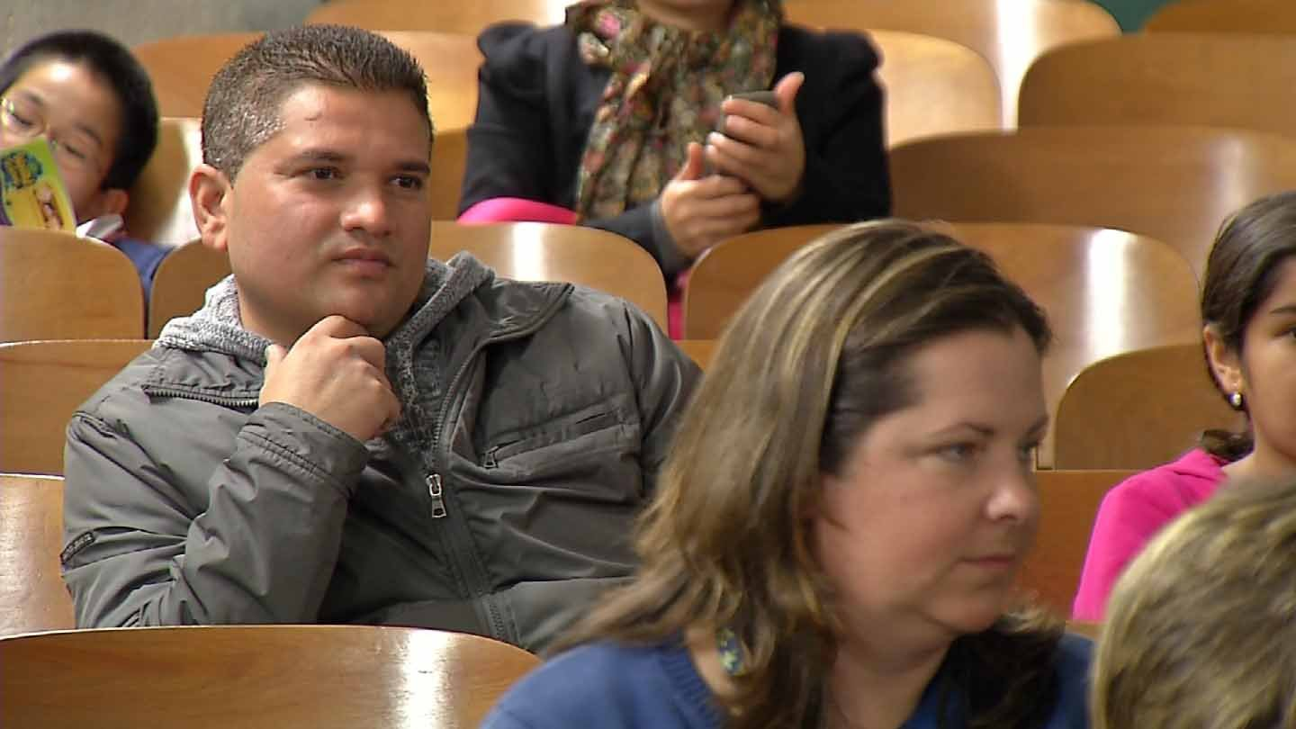 Parents listen to potential redistricting plans in Middletown Monday night. (WFSB photo)