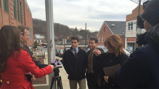 Luke Gatti and his family talks with reporters before his court appearance on Monday. (WFSB)
