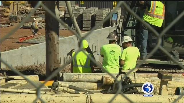 Construction continued on Dunkin Donuts Park on Tuesday. (WFSB)