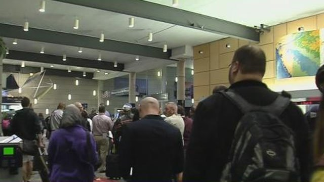 There were long lines at Bradley International Airport on Wednesday morning. (WFSB)