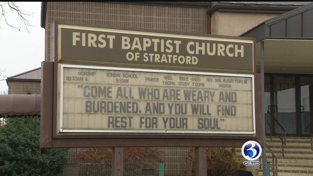 Police investigate robbery at Stratford church. (WFSB)