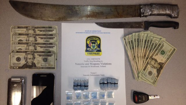 The counterfeit bills, machete, knife and suspected drugs. (State police photo)
