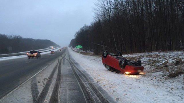 Tolland emergency officials said I-84 west was a mess on Tuesday morning due to the weather conditions. (@TollandAlert photo)