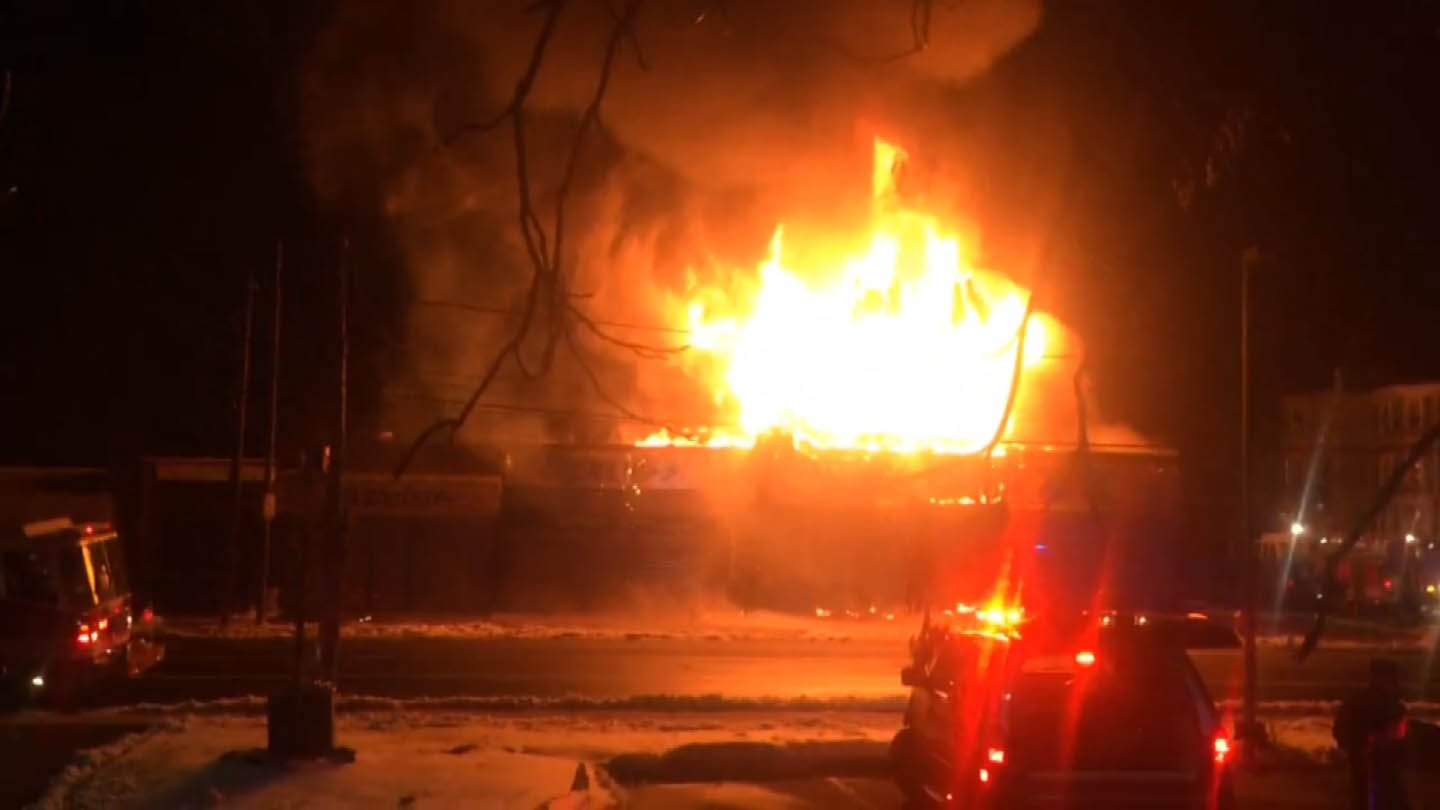 A fire tore through businesses at Barbour and Judson Streets in Hartford Wednesday morning. (iWitness photo)