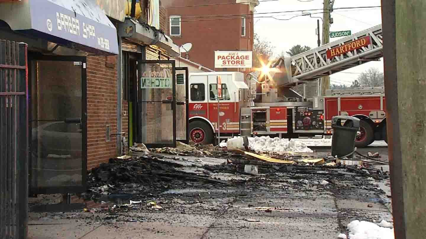 One business was destroyed and two others were damaged in a Hartford fire. (WFSB photo)