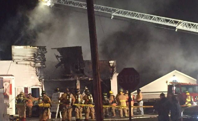 Route 32 in Montville is closed as crews battle a structure fire. (iwitness)