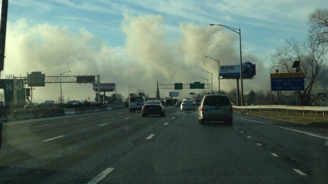 Smoke from the Bridgeport fire could be seen on Route 8. (WFSB)