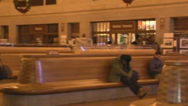 Travelers wait for trains at Union Station in New Haven. (WFSB)