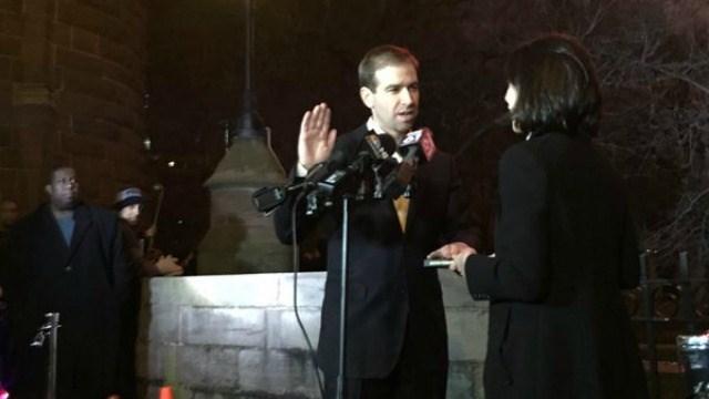 Luke Bronin was sworn in on Friday as the new mayor of Hartford. (@MayorBronin)