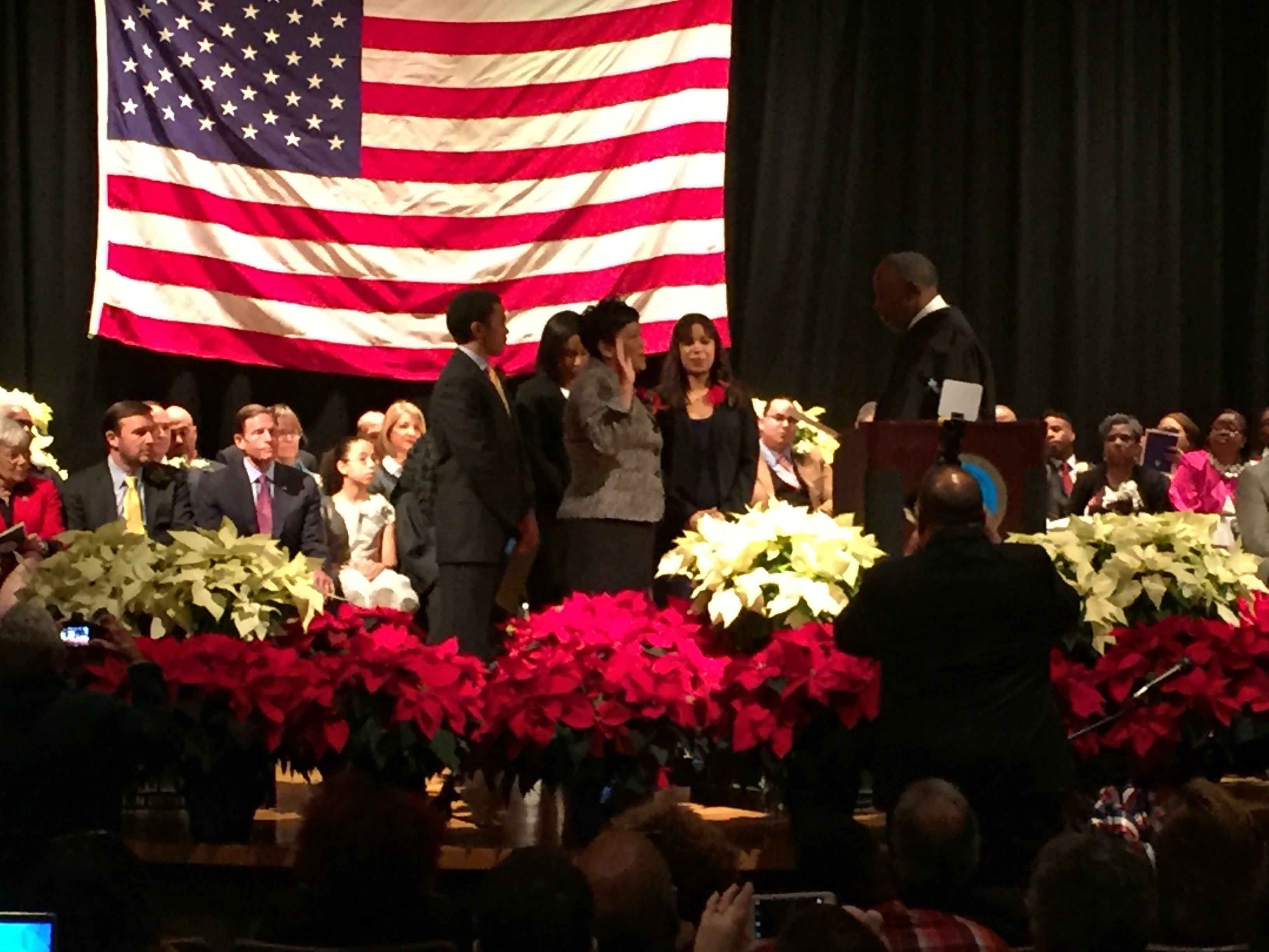 Mayor Toni Harp being sworn in (WFSB Picture)