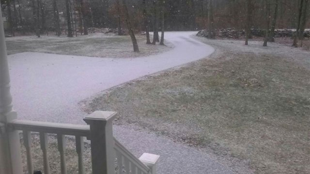 Dixon said snowing enough in Moodus to coat the ground, leading to slick travel in spots. Drivers advised to stay safe.