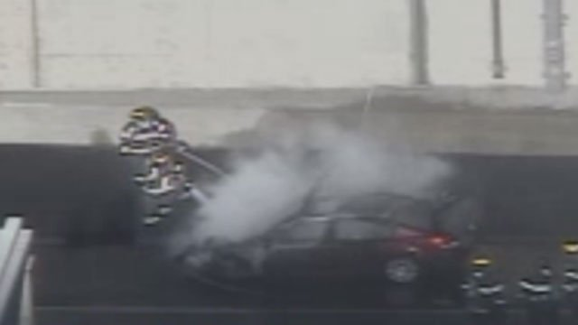 A car fire was reported on Interstate 84 in Hartford. (CT DOT cameras)