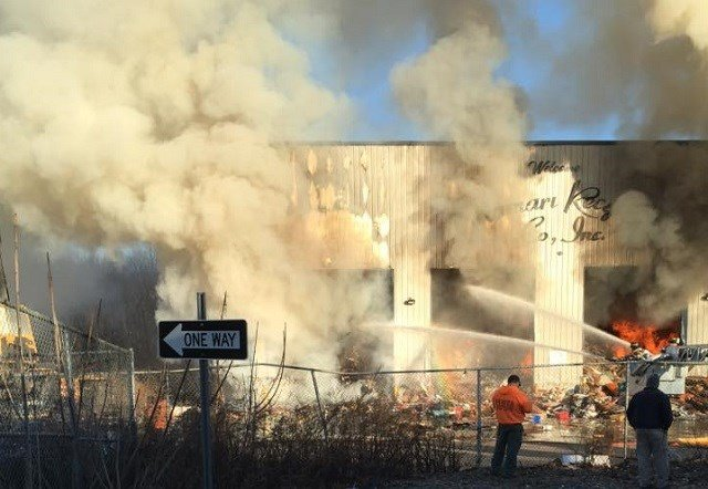 Crews battle large fire at Essex recycling center (Andrew Faust)
