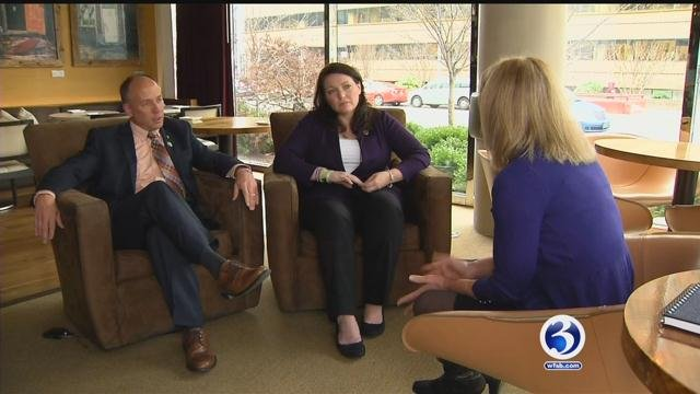 Nicole Hockley and Mark Barden talk with Eyewitness News ahead of the town hall meeting. (WFSB)