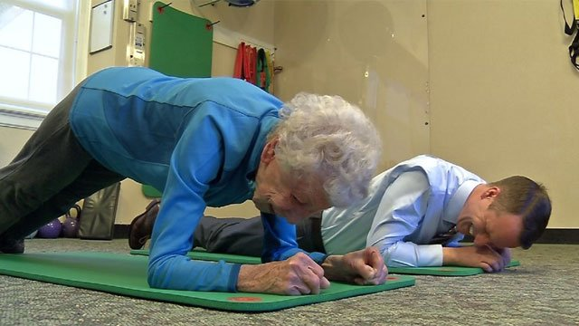 This 93-year-old woman workouts twice a day. (WFSB)