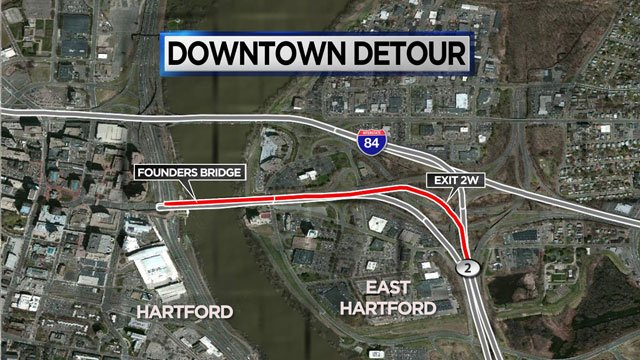 The Route 2W ramp to the Founders bridge will be closed through November 2016 (WFSB)