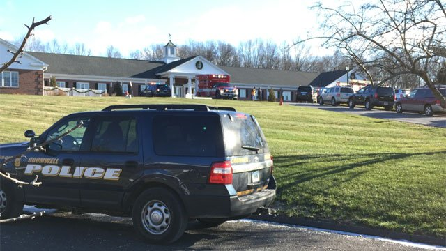Police are on the scene of crash at Apple Healthcare in Cromwell. (WFSB)