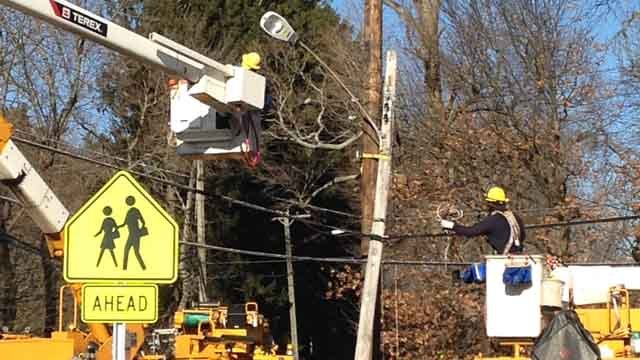 Repairs on High Street in Milford. (WFSB photo)